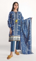 Front & Back Lawn Print Embroidered 2.5m Sleeve Lawn Printed 1.0m Lawn Printed Dupatta 2.5m Shalwar 2.5m