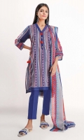 Front & Back Lawn Print Embroidered 2.5m Sleeve Lawn Print Embroidered 0.5m Lawn Printed Dupatta 2.5m Shalwar 2.5m
