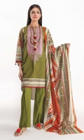 Front & Back Lawn Print Embroidered 2.5m Sleeve Lawn Printed 0.75m Lawn Printed Dupatta 2.5m Shalwar 2.5m