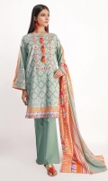 Front & Back Lawn Printed 2.5m Sleeve Lawn Print Embroidered 0.5m Lawn Printed Dupatta 2.5m Shalwar 2.5m