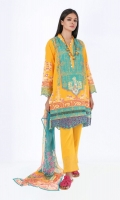 Front Lawn Print Embroidered 1.25m Back Lawn Printed 1.25m Sleeve Lawn Printed 0.5 Chiffon Printed Dupatta 2.5m Embroidered Shalwar 2.5m