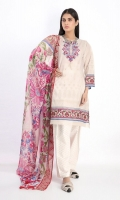 Embroidered Lawn Print Shirt 3.0m Embroidered Chiffon Print Dupatta 2.5m Shalwar 2.5m