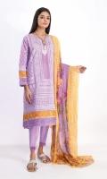 Lawn Printed Shirt 3.0m Embroidered Chiffon Print Dupatta 2.5m Shalwar 2.5m Embroidered Organza Patti