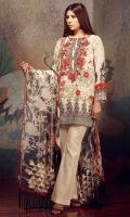 Embroidered Lawn Shirt 1 .25m Embroidered Lawn Fabric 2m Embroidered Chiffon Dupatta 2.5m Lawn Shalwar 2.5m