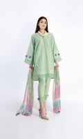 Embroidered Cambric Shirt 3.25m Tissue Silk Printed Dupatta 2.5m Shalwar 2.5m