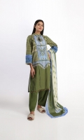 DIGITAL PRINT LAWN EMBROIDERED SHIRT 3.0m DIGITAL PRINTED VOILE dupatta 2.5m SHALWAR 2.5m