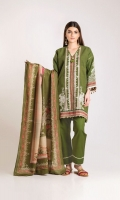 Embroidered Khaddar Shirt 3.25m Printed Shawl 2.5m Shalwar 2.5m