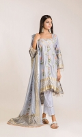 Medium Silk Printed Shirt 3.0m Tissue Silk Dupatta 2.5m Cotton Satin Shalwar 2.5m