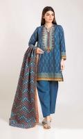 Embroidered Khaddar Printed Shirt 3.0m Khaddar Printed Dupatta 2.5m Shalwar 2.5m