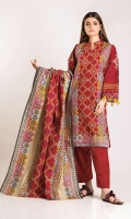 Front & Back Khaddar Print Embroidered 2.5m Sleeve Khaddar Printed 0.5m Khaddar Printed Dupatta 2.5m Shalwar 2.5m