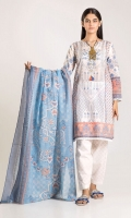 Front & Back Cambric Printed 2.5m Sleeve Cambric Printed 0.5m Printed Dupatta 2.5m Shalwar 2.5m