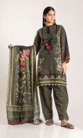 Digital Printed Khaddar Embroidered Front 1.25m Digital Printed Khaddar Back 1.25m Digital Printed Khaddar Sleeve 0.5m Cotton Square Dupatta 2.5m Shalwar 2.5m