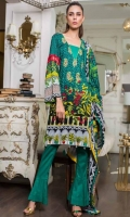 Shirt: Printed Lawn Dupatta : Printed Lawn Trouser: Dyed Embroidery: -Front Embroidered Panel on Shirt