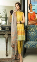 Shirt: Printed Lawn Dupatta : Printed Chiffon Trouser: Printed Embroidery: -Embroidered Gala