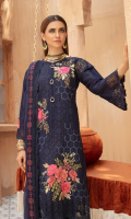 1.25 meter embroidred front 1.25 meter embroidred back 0.85 meter embroidred bazu 2.5 meter embroidred chiffon duppata 2.5 meter cotton trouser