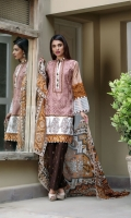 Shirt Front: Embroidered/Dyed - 1.25 Meters Shirt Back: Printed - 1.25 Meters Dupatta: Net/Printed - 2.5 Meters Sleeves: Printed - 1 Pair Trouser: Printed - 2.5 Meters Border: Printed - 1 Piece Border: Printed - 1 Piece