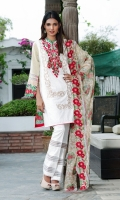Shirt Front: Embroidered/Printed - 1.25 Meters Shirt Back: Printed - 1.25 Meters Dupatta: Net/Embroidered/Printed - 2.5 Meters Sleeves: Printed - 1 Pair Trouser: Printed - 2.5 Meters