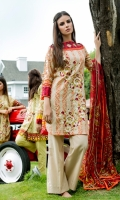 Shirt Front: Embroidered/Printed - 1.25 Meters Shirt Back: Printed - 1.25 Meters Dupatta: Chiffon/Printed - 2.5 Meters Sleeves: Printed - 1 Pair Trouser: Dyed - 2.5 Meters