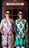 Shirt Front: Embroidered/Printed - 1.25 Meters Shirt Back: Printed - 1.25 Meters Dupatta: Embroidered/Net/Printed - 2.5 Meters Sleeves: Printed - 1 Pair Trouser: Dyed - 2.5 Meters