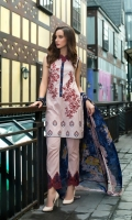 Shirt Front: Embroidered/Printed - 1.25 Meters Shirt Back: Printed - 1.25 Meters Dupatta: Chiffon/Printed - 2.5 Meters Sleeves: Printed - 1 Pair Trouser: Dyed - 2.5 Meters Border: Embroidered - 1 Piece