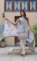 Shirt Front: Printed - 1.25 Meters Shirt Back: Printed - 1.25 Meters Dupatta: Printed - 2.5 Meters Sleeves: Printed - 1 Pair Trouser: Dyed - 2.5 Meters Bunch: Embroidered - 2 Pieces Motif: Embroidered - 2 Pieces