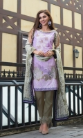 Shirt Front: Embroidered/Printed - 1.25 Meters Shirt Back: Printed - 1.25 Meters Dupatta: Printed - 2.5 Meters Sleeves: Printed - 1 Pair Trouser: Dyed - 2.5 Meters Lace Cut Work: Embroidered - 1.25 Meters