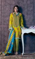 Shirt Front: Embroidered/Printed - 1.25 Meters Shirt Back: Printed - 1.25 Meters Dupatta: Printed - 2.5 Meters Sleeves: Printed - 1 Pair Trouser: Dyed - 2.5 Meters