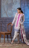 Shirt Front: Embroidered/Printed- 1.25 Meters Shirt Back: Printed - 1.25 Meters Dupatta: Printed - 2.5 Meters Sleeves: Printed - 1 Pair Trouser: Dyed - 2.5 Meters