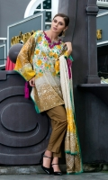 Shirt Front: Printed - 1.25 Meters Shirt Back: Printed - 1.25 Meters Dupatta: Printed - 2.5 Meters Sleeves: Printed - 1 Pair Trouser: Dyed - 2.5 Meters