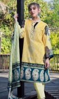 Shirt Front: Printed 1.25 meters Shirt Back: Printed 1.25 meters Sleeves: Printed 1 Pair Dupatta: Printed 2.5 meters Trouser: Dyed 2.5 meters