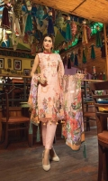 Digital Printed Luxury Lawn Shirt With Embroidered Chikankari Front With Heavy Embroidered Neck Dupatta Digital Chiffon Trouser Dyed Cambric