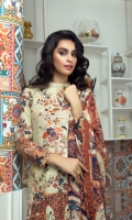 Digital Printed Luxury lawn shirt With Embroidered Chikankari Front With Heavy Embroidered Neck Dupatta Digital Chiffon Dyed Cambric Trouser