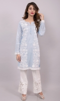 A fun summer shirt in a bright yellow /sky blue with white embroidery and crochet lace detailing, finished with pearl buttons. Pair with your white trousers or azzars, some kolapuri chappals and silver earnings and you are ready to rock!