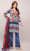 Digital print lawn shirt with a denim effect with floral placement and a matching print silk dupatta. It comes with blue boot leg trousers with organza extensions& embroidery.