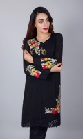 """Classic at its best! An amalgamation of different textures with self embroideries in an interesting layout sewn with lace inserts form the base of this chiffon shirt. The multi floral embroidery in the age old """"Gara"""" work placed on neck,hem, back and sleeves complete the design as a work of art."""