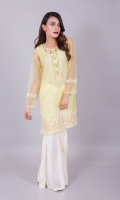 The pretty yellow, the soft net fabric, the creme embroidery with cut work and silver crystal buttons, all lands this one amongst our favorites this season. Pair with our gharara pants( like model kk-00B ) in creme, some scarlet lipstick, pearl earrings and soft curls and you are ready to rock this summer in style.