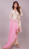 Classic crème chiffon shirt with all over embroidered front with pearls and pink accents and embroidered organza back. It comes with a soft pink dupatta and pearl buttons & finishings.