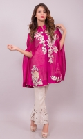 Cobalt dark pink cape in cotton net in a modern cut with a surreal oriental embellishment on front. Pair it with your jumpsuits or skinny jeans for a modern look, or a pair of raw silk bell bottoms and plain shirt for a more dressed up smart look.