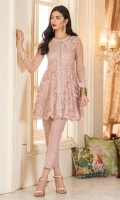 A tea pink embroidered net peplum with beautiful crystals and pearl work on neckline,and one 3-d floral motif.