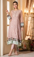 Tea pink embroidered net frock, with gold lace inserts, yoke insert neckline with buttons, while adding color and life are the plum and aqua borders with embroidery on hem and sleeves