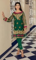 Bottle green organza shirt with beautiful dori embroidery & a multi color floral embroidered border on neckline, sleeves and hem. It comes with a slip and fitted trousers with pleating on hem.