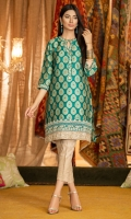 Custom made turquoise color jamawar cotton net shirt with embroidered neckline, sleeves and hem in gold and fawn.