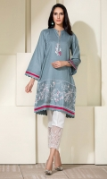 Slate grey self texture cotton straight kurta with embroidery on hem, and neckline ,and pleating and scallop detail with red accents.