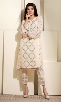 Cream colored chiffon shirt with miniature embroidery all over the front, and sleeves.