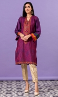 Deep purple cotton net shirt with embroidery all over in contrasting shades.