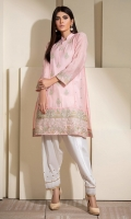 Soft pink cotton net shirt with detailed multi embroidery.