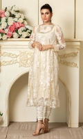 Cream colored embroidered net shirt with handwork neckline.