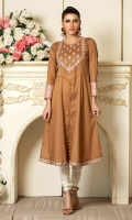 Gold striped cotton in that lovely earthy brown , with peach& dull copper accents and dori embroidery.