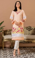 Peach chikan shirt with multi color embroidery ,white laces and net detail.