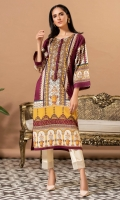 Digital print lawn shirt with square armholes, it has dori work on neckline with loops and buttons in deep plum.